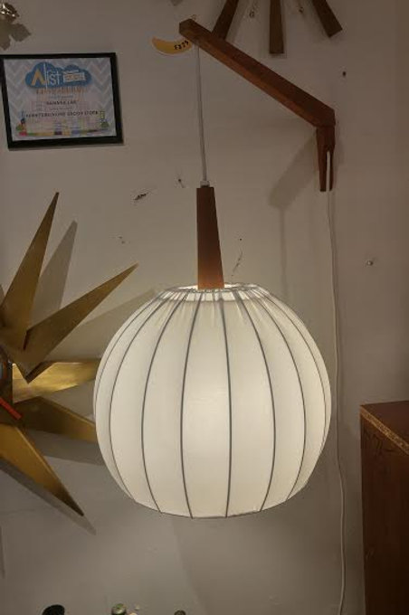 Geoge Nelson Style Teak Wall Hanging Lamp