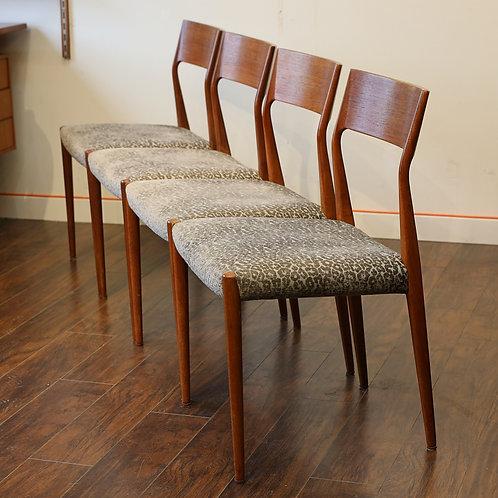 Set of 4 Vintage MCM Teak Dining Chairs