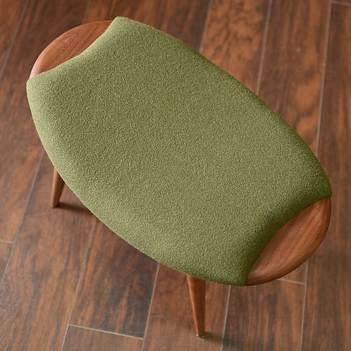 20% OFF Danish modern oval shape footstool in new upholstery of wool