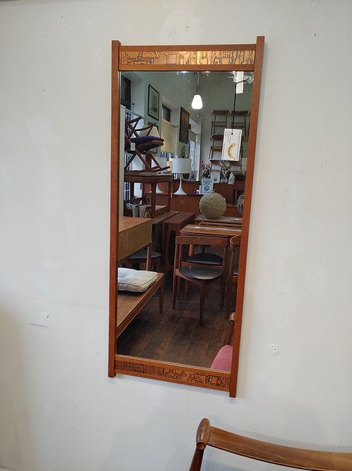 MCM Teak Wall Mirror with Copper Trim decoration