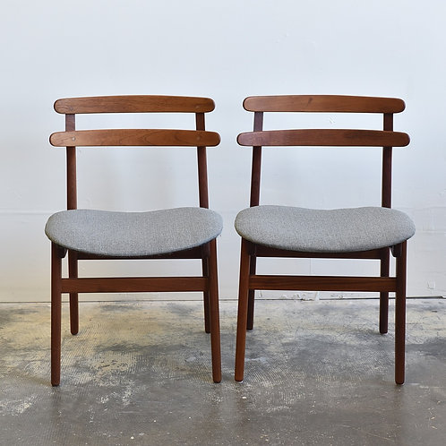 Pair of Mid-Century Modern Grey Teak Chairs by Poul Hundevad