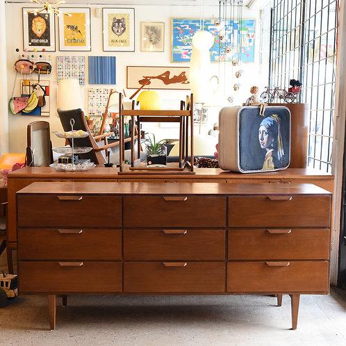 Vintage Walnut 9 Drawers Dresser
