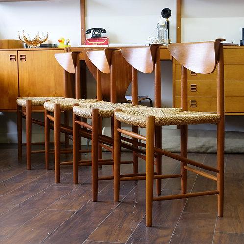 Set of 4, Danish Modern Mod. 316 Teak Dining Chair by Peter Hvidt for Soborg