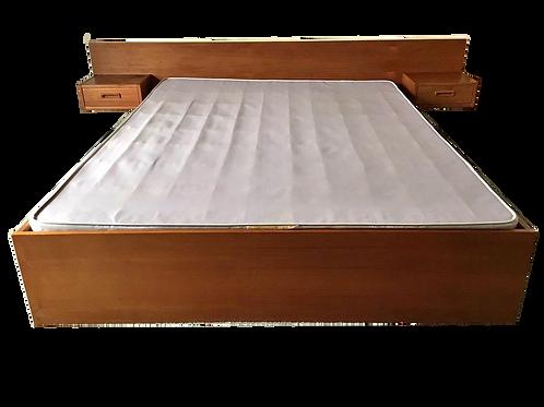 Vintage Teak Queen Bed Frame with 2 Floating Side Tables