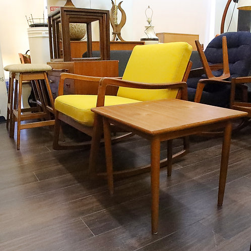 Square teak side coffee table