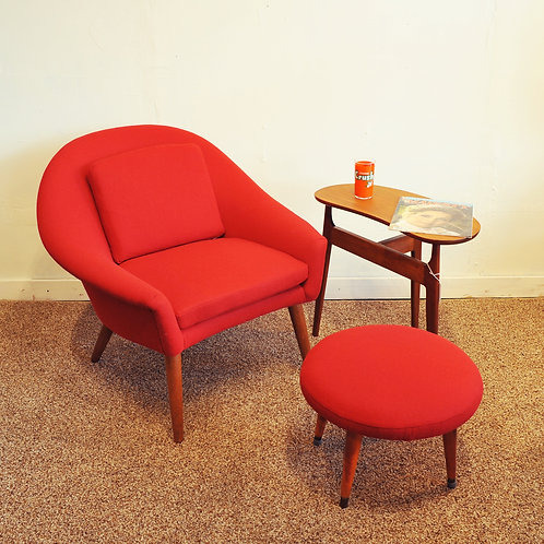 Mid Century Modern Teak Lounge Chair + Stool