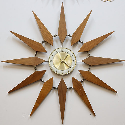 Brass and teak wall clock works with battery