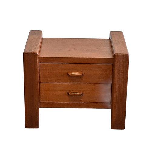 Vintage Teak Side Table with 2 Drawers