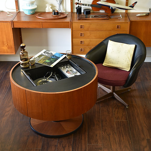 RARE! Vintage Record player in drum shape, formica and teak finish, Working
