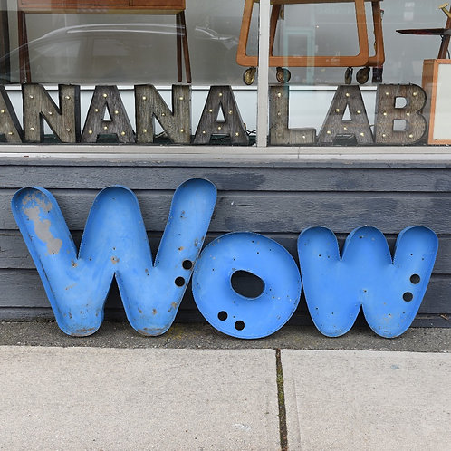 """""""WOW"""" or """"MOM"""" Vtg Channel Letters"""