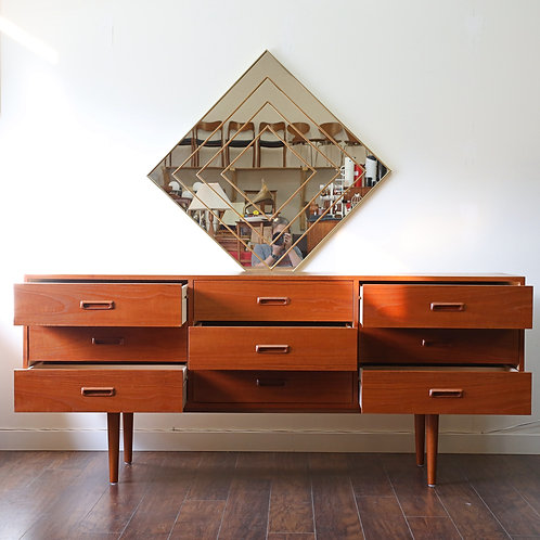 Vintage MCM Teak 9 Drawers Dresser