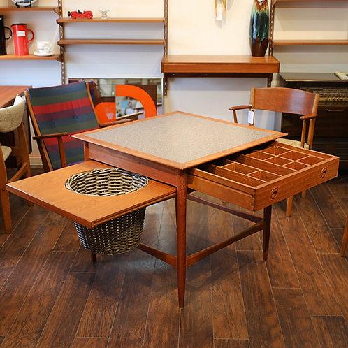 Vintage MCM Teak Sewing Table