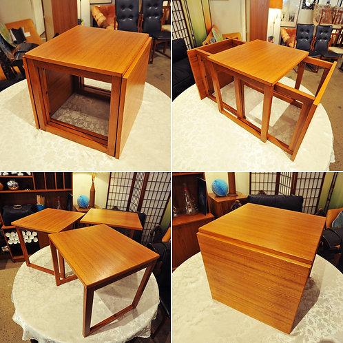 Danish Modern Teak Cube Nesting Tables by Kai Kristiansen