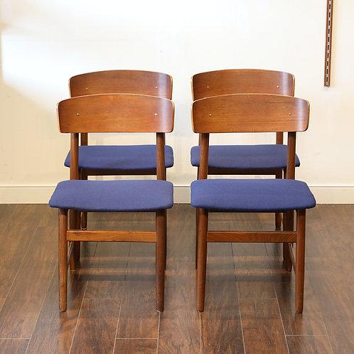Set of 4 Vtg Danish Modern Dining Chairs.