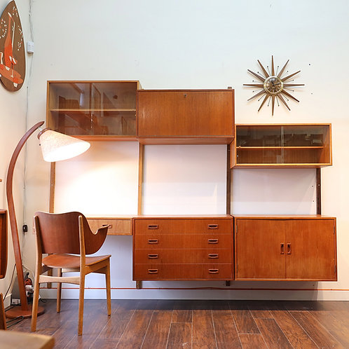 Danish Modern Teak Poul Cadovius Wall Unit
