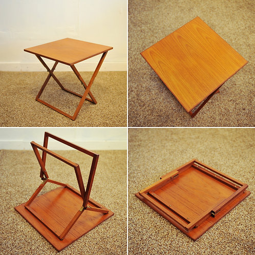 Danish Modern Teak Folding Side Table