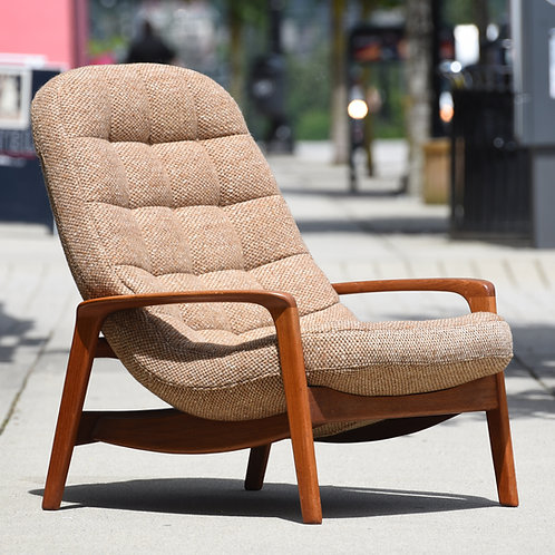Vintage MCM Teak Lounge Chair with Ottoman, Manufactured by R. Huber & Co.
