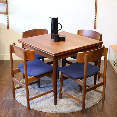 Vintage Danish Teak Square Dining Table with 2 Leaves