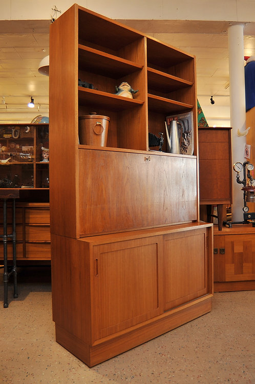 Danish Teak Bookcase Desk Secretary by Carlo Jensen for A/S Hundevad & Co.