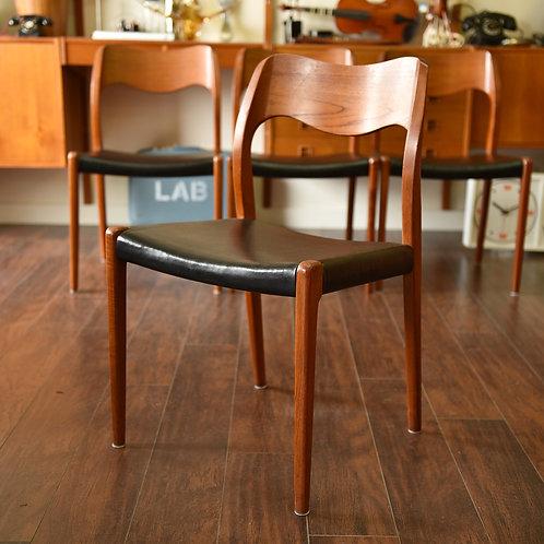 Restored Danish Modern Teak #71 Dining Chairs by J.L. Møllers Møbelfabrik