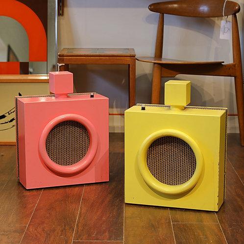 Vintage Funky Yellow & Pink Speakers
