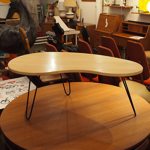 Reclaimed Yellow Cedar Kidney Shape Coffee Table with Hairpin Legs