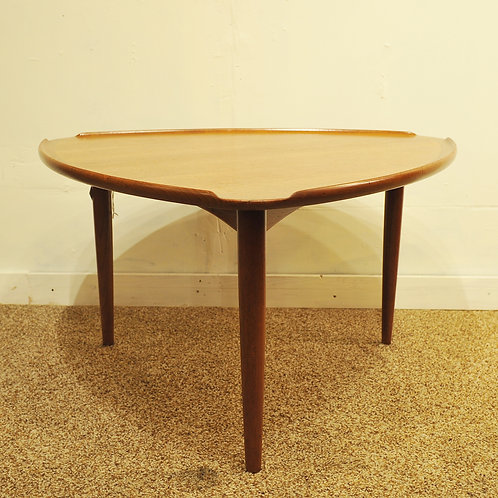 Danish Teak Triangle Side Table Made in Denmark by CFC Silkeborg