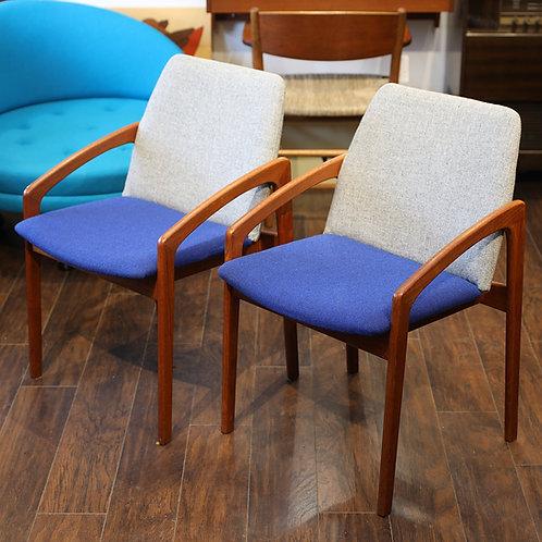 Danish Modern Teak Model 23 Arm Chairs by Henning Kjaernulf