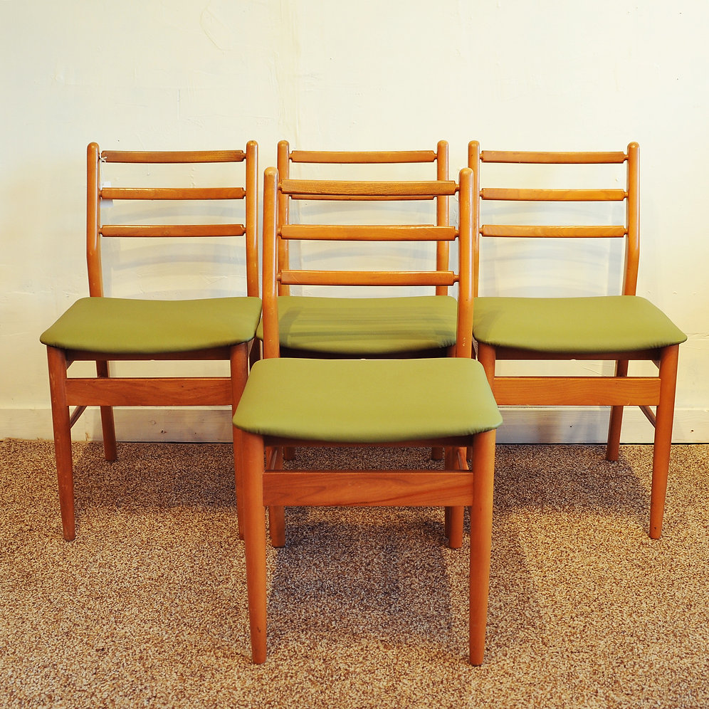 Set of 4 Vintage Ladder Back Green Dining Chairs | bananalab