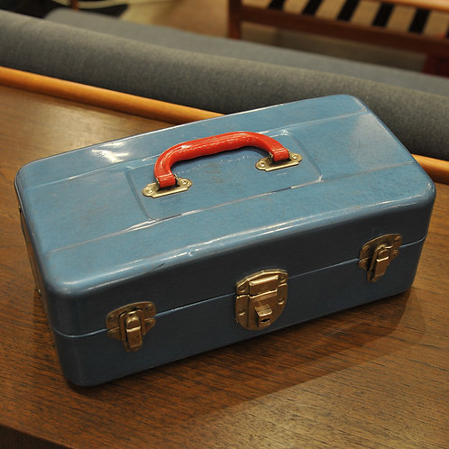 Vintage Blue Tackle Box with Red Handle