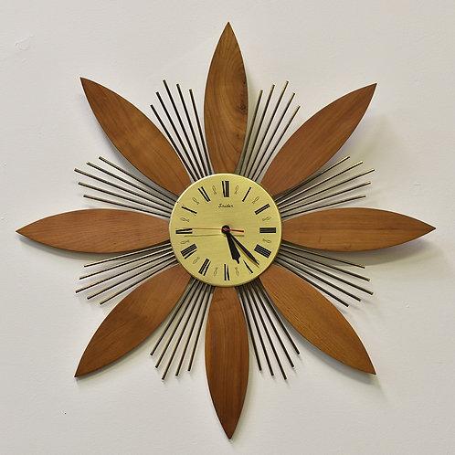 Vintage MCM Starburst Wall Clock by Snider