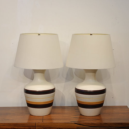 Pair of Vintage Pottery Table Lamps