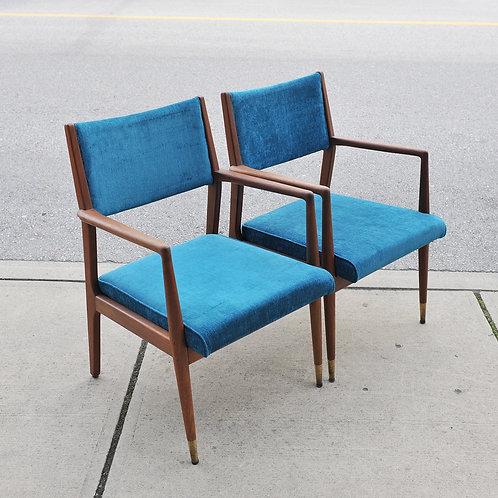 Mid Century Modern Walnut Arm Chairs / Easy Chairs