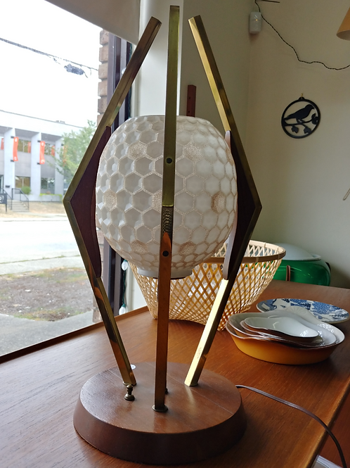 Atomic shape glass shade solid brass and walnut lamp