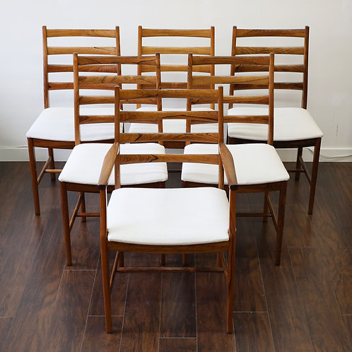 10%Off AMAZING wood grain on Rosewood ladder back dining chairs(6) by Westnofa
