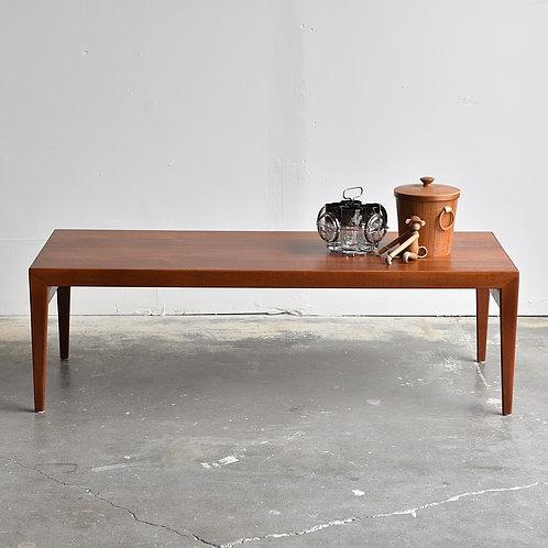 Danish Mid Century Modern Teak Coffee Table with 2 Hidden Trays