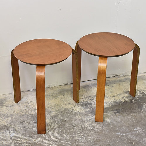 Pair of Vintage Teak Stools in Style of Alvar Aalto