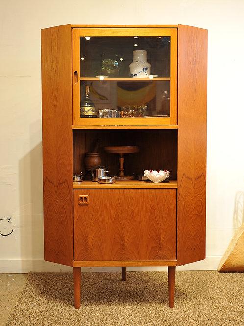 Mid Century Modern Teak Corner Standing Cabinet