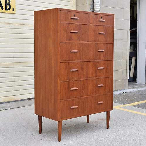 Danish teak tallboy dresser