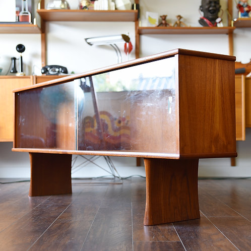Refinished teak top hutch, glass cabinet