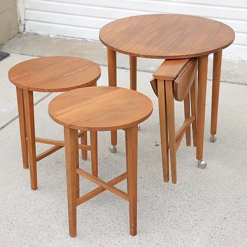 Space saving furniture, tea cart with 3 folding tables