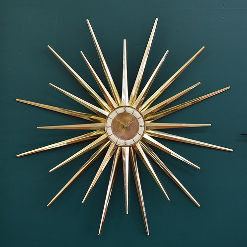 Vintage Mid-Century Modern Starburst Wall Clock