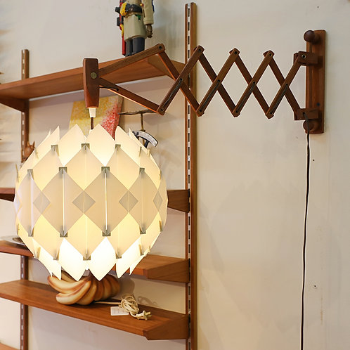 Vintage Teak Scissors Lamp with Origami Shade