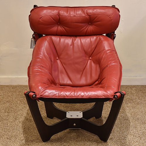 Norway Red Leather High back Lounger