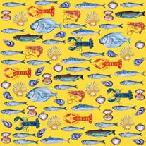 Fish Wallpaper Yellow Square Art Print