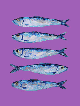 Sardines on Purple Art Print