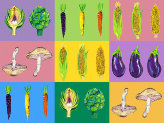Vegetable Pop Art