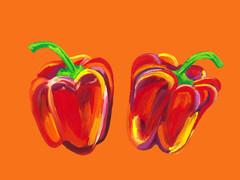 Peppers on Orange