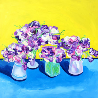Sweet Peas on Van Gogh Yellow