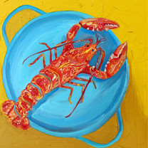 Lobster In A Pot Square Art Print